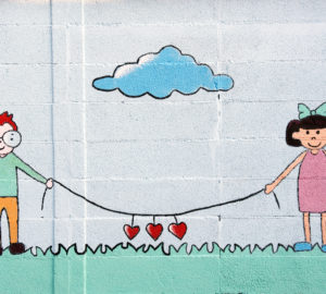 wall mural of boy and girl
